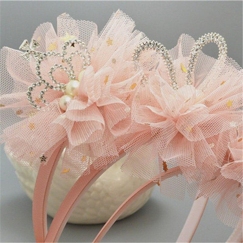 Diadema de flores de encaje, diadema con parche de corona de diamantes de imitación para niñas/niños, diadema de alta calidad, cintas elásticas para el cabello, accesorios para el cabello