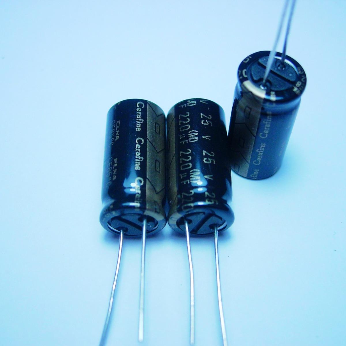 10pcs/20pcs ELNA cerafine 25v220uf black audio condenser copper audio super capacitor electrolytic capacitors free shipping 5pcs 10pcs elna silmcii 16v2200uf 18 40 copper capacitor audio super capacitor electrolytic capacitors free shipping