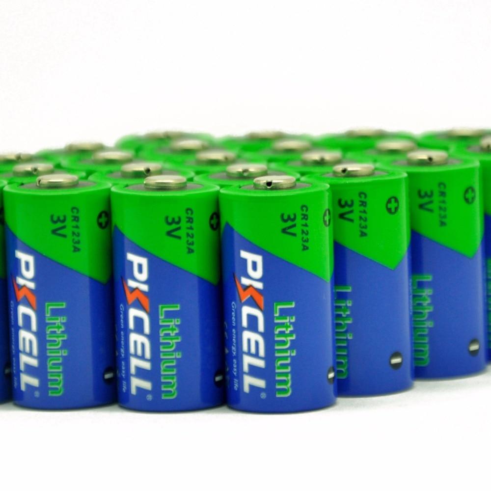 100 x PKCELL 3V CR123A литиевые батареи CR123 123A 16340 CR17345 неперезаряжаемая батарея для Камеры Фонарь