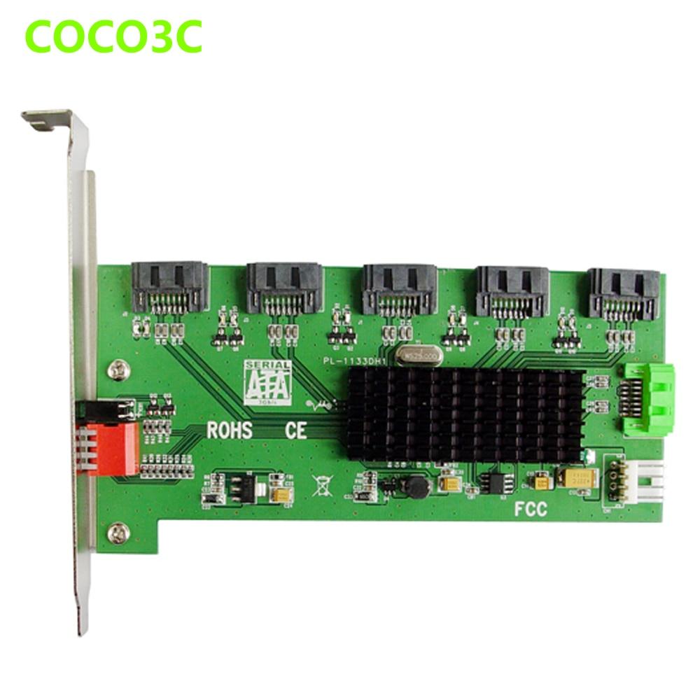 5x1 puerto SATA 2,0 adaptador multiplicador SATA 3Gbps SSD PM tarjeta elevadora con RAID 0 1 3 5 10 gran clon soporte de perfil largo