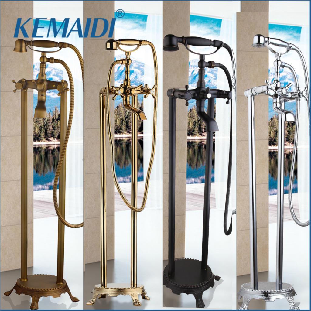 KEMAIDI отдельно стоящий ванный носик для душа, напольное крепление, набор для душа, смеситель, клапан, 2 функции, черный/хром/золото, ванна, напо...
