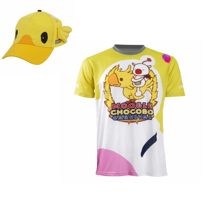 FF15 Moogle Chocobo camiseta Final Fantasy XV Noctis Lucis Caelum t camisa sombrero traje de Carnaval camisa de manga corta para hombres Cosplay Tee