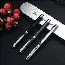 Stylo à bille en métal de haute qualité stylos gel de luxe donnent 2 recharges 0.5mm encre bleue/noire pour lécriture daffaires fournitures scolaires de bureau