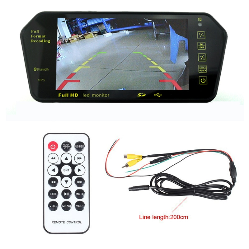 "Nueva llegada 7 ""Bluetooth MP5 MP4 LCD coche espejo retrovisor Monitor remoto apoyo cámara trasera USB/TF FM transmisor inversa"