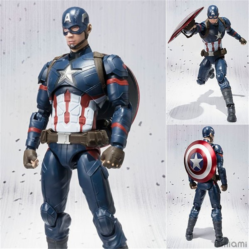 Anime Capitán América vengadores de Civil War Capitán América de PVC MODELO DE figura de acción muñeca superhéroe estatua juguetes de los niños regalo de 16cm