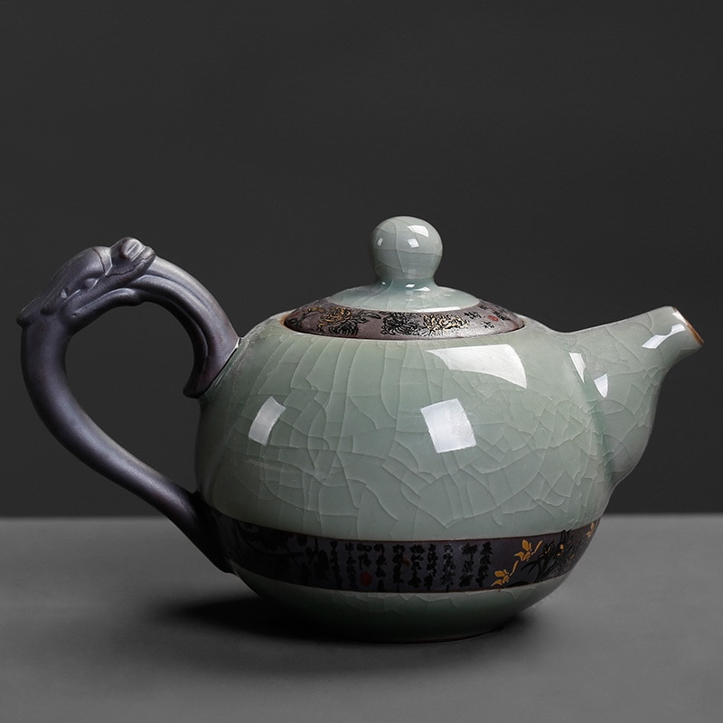 Kung Fu chino té tetera de cerámica de hielo se rompió sola olla casa negro té Tieguanyin té grande y moderno simple hervidor de agua