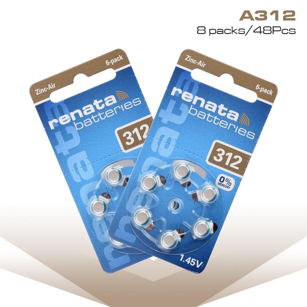 48 Uds 1,45 V A312 ZA312 165mAh Zinc-aire de la batería 312PA 312SA 312ZA 7002ZD AC312 AC312E botón células monedas audífono