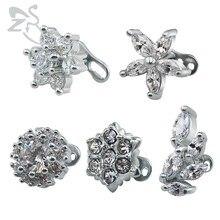 5 Style belle fleur cubique Zircon dermique ancre hauts et Base 316 acier chirurgical intérieurement fileté vis Piercing bijoux