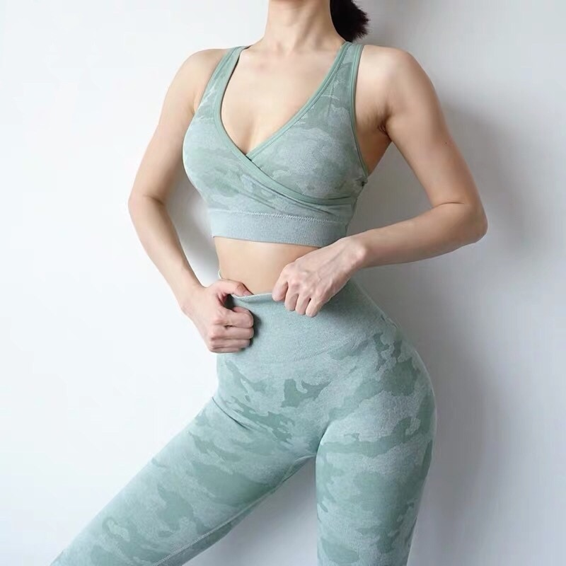 CHRLEISURE Sujetador Deportivo de camuflaje con realce, Sujetador sin costura para Mujer, para ejercicio Sujetador Deportivo, Tops, Sujetador Deportivo para Mujer