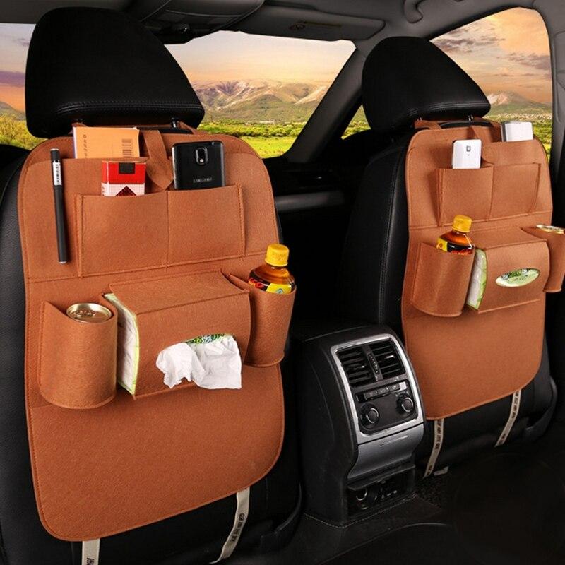 Organizador de asiento trasero de coche bolsa de almacenamiento Universal Fundas de Fieltro soporte de asiento trasero multibolsillos contenedor de estilismo
