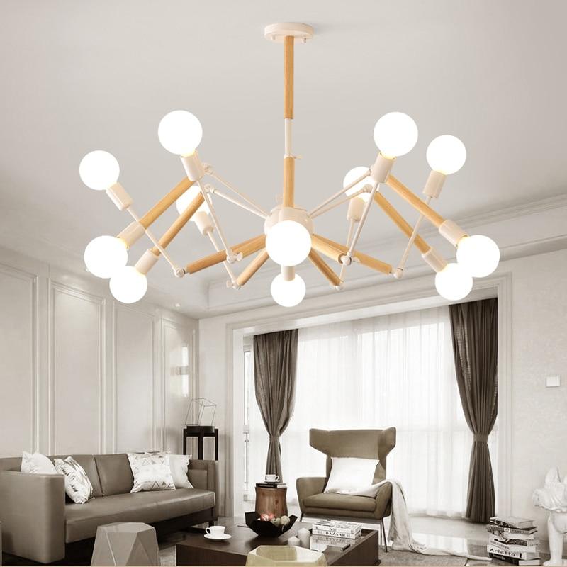 ثريا خشبية حديثة مع ذراع مصباح قابل للتعديل ، ثريا عنكبوت ، أبيض/أسود ، لغرفة المعيشة ، المطعم ، غرفة النوم