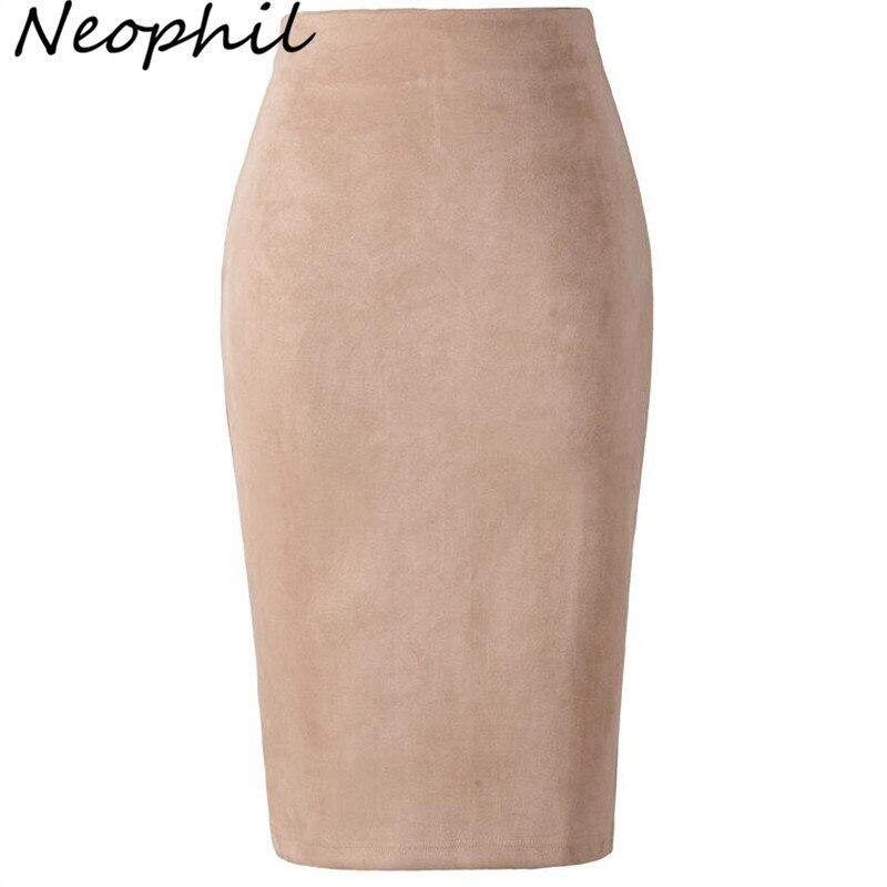 Neophil 2020 verano mujeres Suede Midi falda de lápiz de alta cintura gris Rosa XXL estilo Sexy Stretch Wrap Ladies Office Work Saia S1009