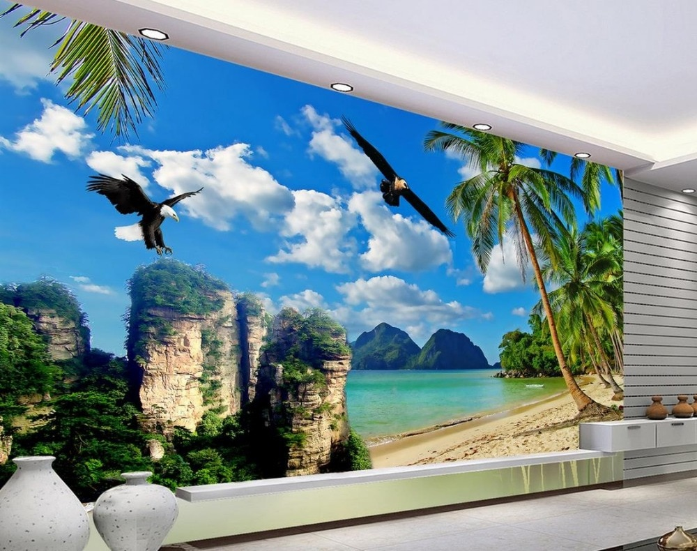 Papel pintado fotográfico 3d personalizado mar águila árbol clásico pintura TV Fondo mural pared papel