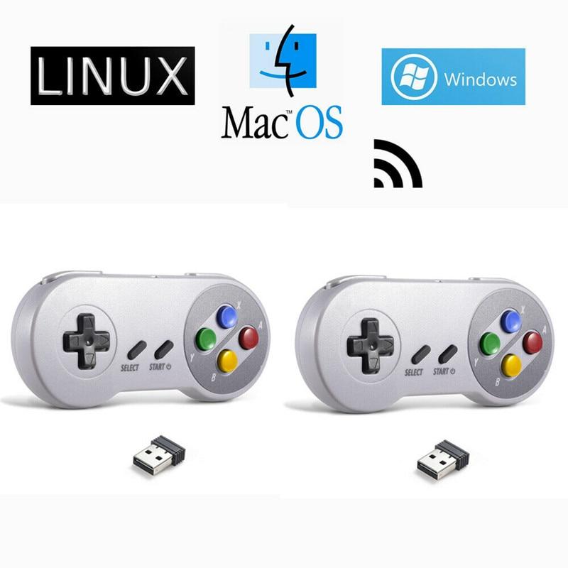 حزمة من 2 وحدات تحكم USB لاسلكية لـ SNES ، لوحة ألعاب لنظام التشغيل Windows/PC/MAC/PC ، محاكي Raspberry Pi Sega Genesis