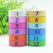 1 pièces 1.5CM * 3M paillettes Washi ruban autocollant papier masquage adhésif bureau école ruban étiquette artisanat pour bricolage ruban décoratif JD23