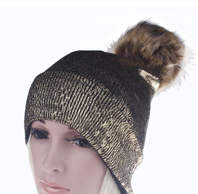 girls bronzing gold and silver with caps raccoon fur pompon hat for women winter knitting warm hats female skullies beanies