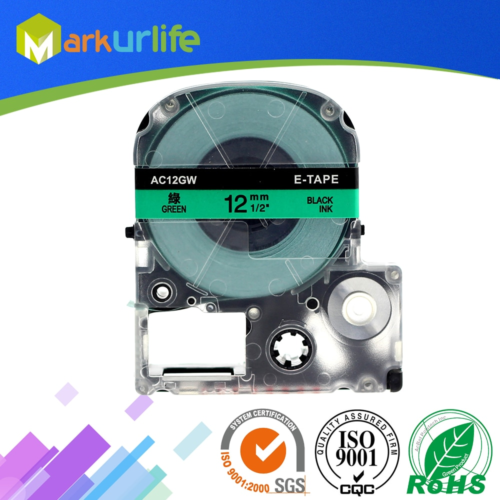 1 unids/lote cinta Compatible con EPSON LW-300 LW-400 LW-600P LW-700 LC-4WBN9 impresora (12mm x 8m negro/verde) gran oferta
