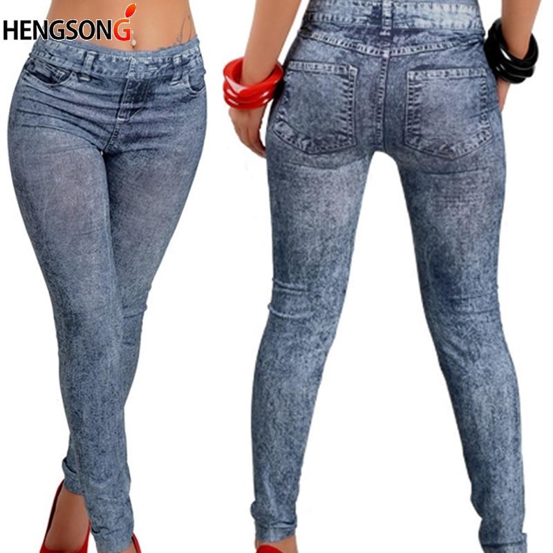 Nueva moda Leggings Push Up Leggings ajustados Jeggings leggins elásticos lápiz Leggings Jeans Denim Leggings de cintura alta