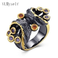 new multi color crystal black rings for women fashion jewelry bague aneis anel feminino cute designer finger ring jewellery