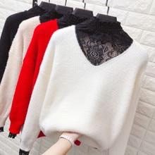 2019 nowy zima owłosione swetry moherowe kobiety swetry z dzianiny luźne z długim rękawem koronki Splice Casual swetry damskie Jumper R357