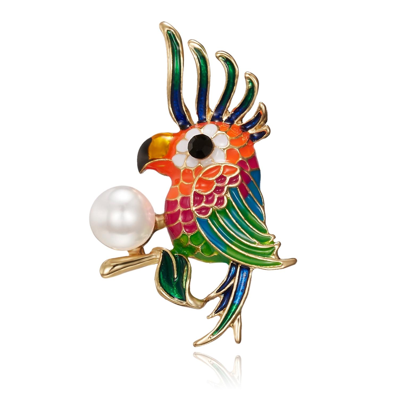 Esmalte colorido pájaro broches para accesorios de la camisa de mujer de color niños solapa pines Clips de juguete vestido broche Bjioux