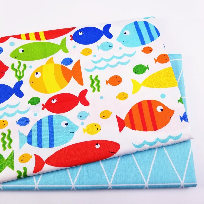 Печатная цветная детская саржевая хлопковая ткань с рисунком рыбы, хлопковая Лоскутная Ткань, сделай сам, шитье, стеганое одеяло, материал для малышей и детей