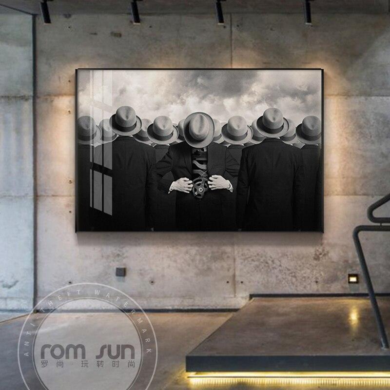 Abstracto sombrero hombre recogido lienzo pintura moda negro blanco Poster impresión para sala pasillo creativo moderno Arte de la pared Decoración