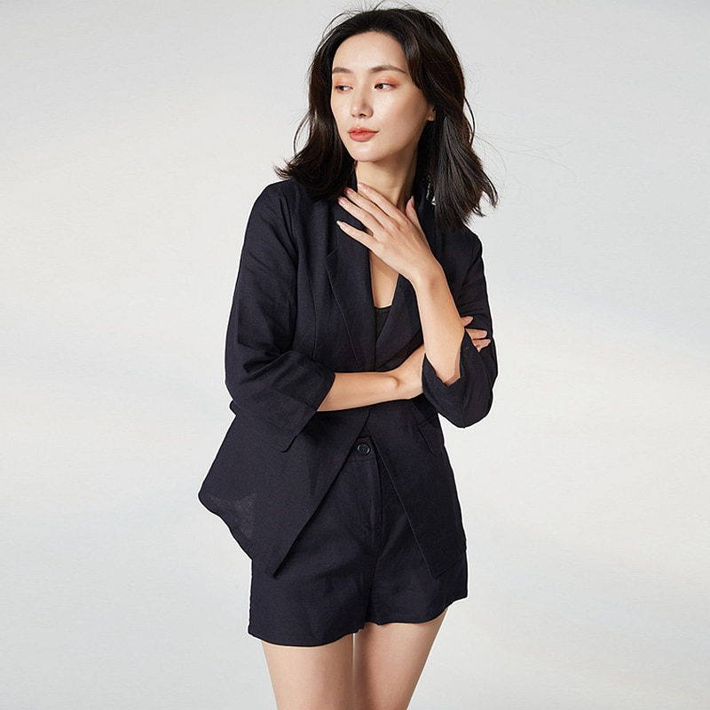 Suits Women Two- Pieces Set 20% Cotton 80% Linen Casual Blazer + Hot Shorts Solid High Breathable Fabric New Fashion 2019