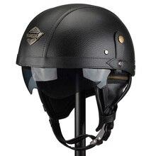Personnalisation manuelle casques Moto Moto Scooter demi Face Casque cuir Retro marron Capacete Casque Moto