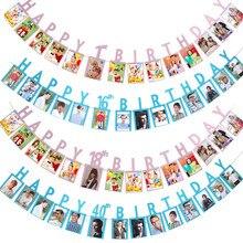 Happy Birthday Photo Banner 1st 16 18 21 30 40 50 60 Birthday Anniversary Party Decor Kids Adult Birthday Photo Bunting Garlands