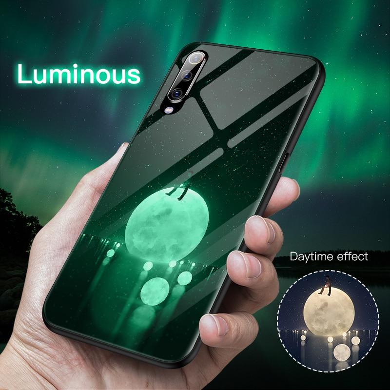 Роскошная светящаяся задняя крышка из закаленного стекла футляр для Redmi 4X 5 Plus Note 5 6 7 Pro для телефона Mi 5 6 8 9se