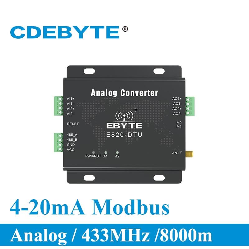 E820-DTU(2I2-433L) 433 MHz Modbus, adquisición analógica, transceptor inalámbrico de 2 canales, de 1W interfaz RS485, módulo de radiofrecuencia de 433 mhz