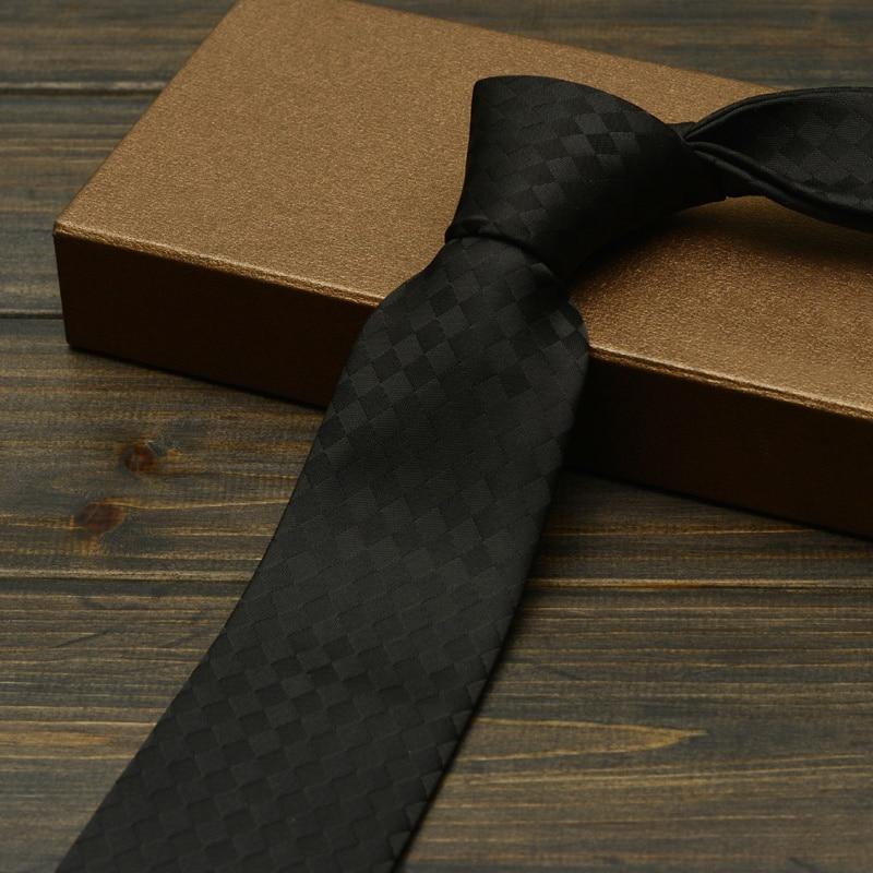 High Quality Formal Men's Business Tie Fashion Polyester 7cm Neck Ties for Men Classic Black Plaid Office Work Necktie Gravata