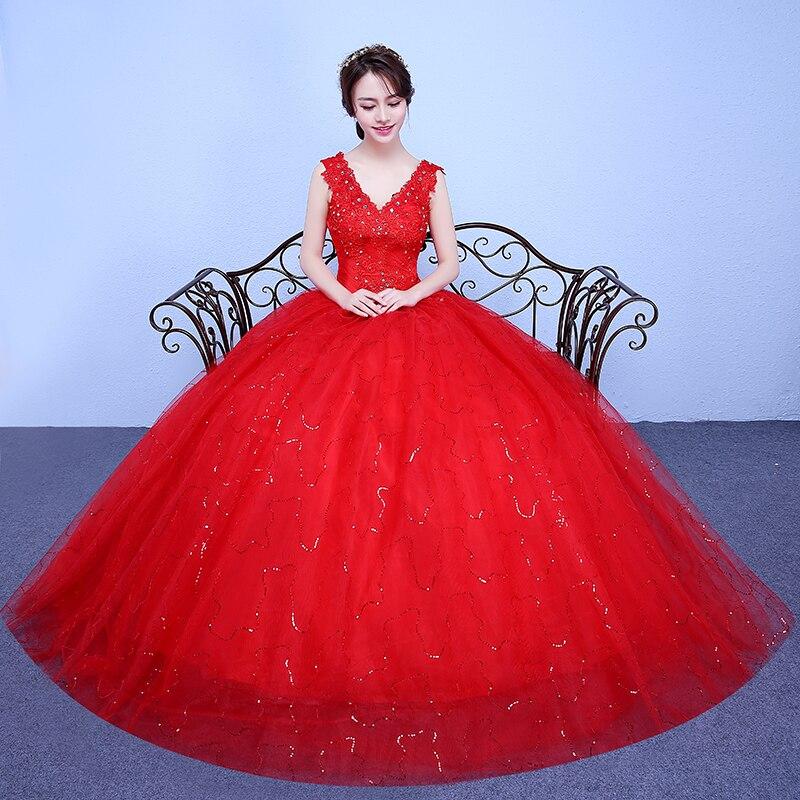 Vestido de novia blanco y rojo romántico simple de moda 2020, recién llegado, vestido rojo de princesa de encaje de estilo coreano, apliques de novia