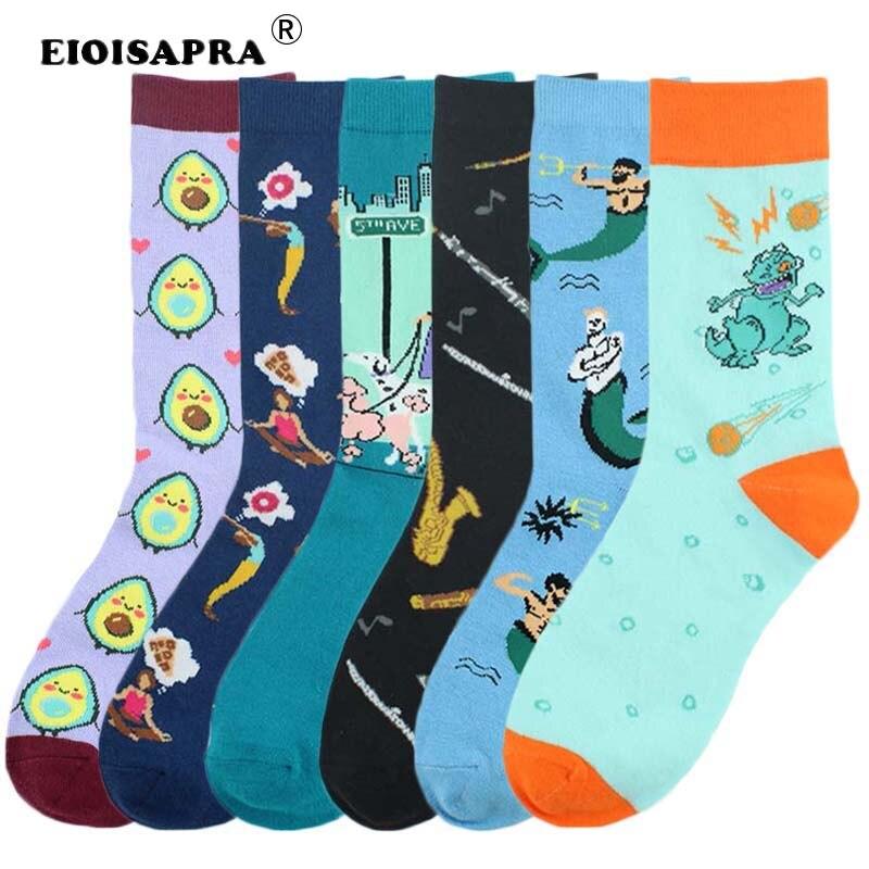 [EIOISAPRA] medias divertidas para mujer, arte creativo para hombre, Harajuku, moda, algodón peinado, dibujos animados, perro aguacate Sachs, chica, calcetines Unisex bonitos