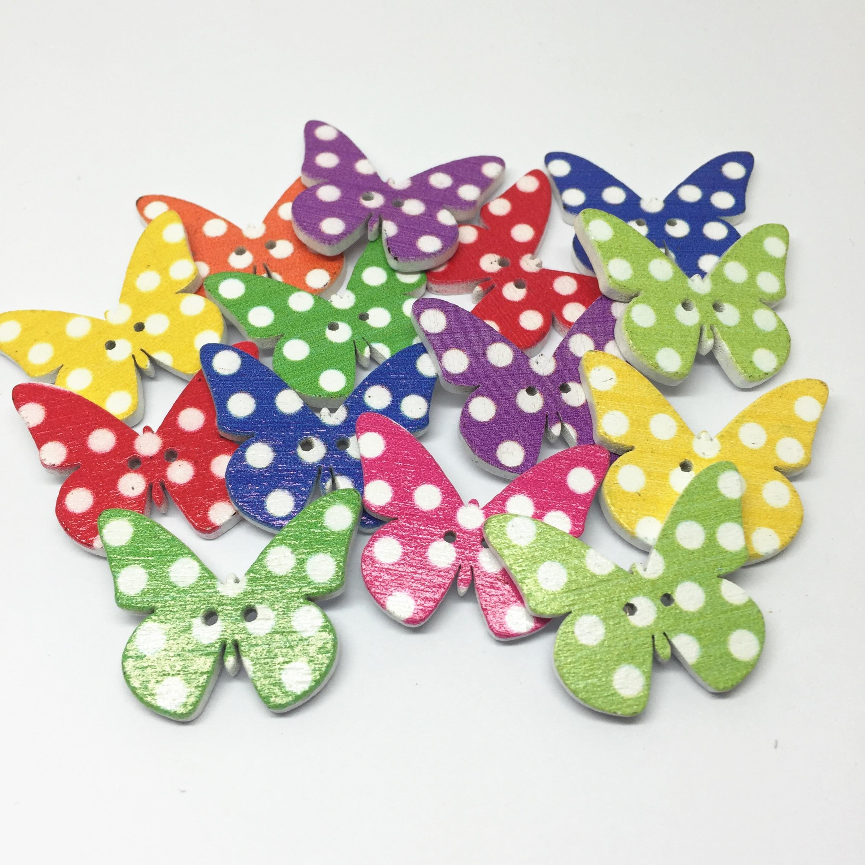 50 pçs pontos botões de madeira em forma de borboleta 2 buracos fantasia novidade botão embelezamento scrapbooking cardmaking
