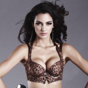 Sujetador de leopardo sexy para mujer, sujetador de leopardo con cuello redondo, venta al por mayor, el Triángulo Dorado de la mariposa se vuelve súper junto para ajustar el sujetador