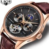 Relogio Masculino LIGE Sports Mens Watches Top Brand Luxury Automatic Watch Men Leather Waterproof Watch Week Clock Reloj Hombre