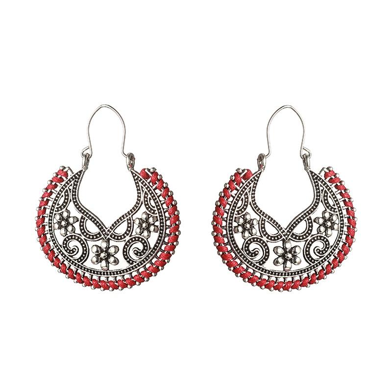 LOVBEAFAS ethnique bohème Vintage boucles doreilles pour les femmes bijoux de mode à la main corde Wrap fleur creux boucles doreilles