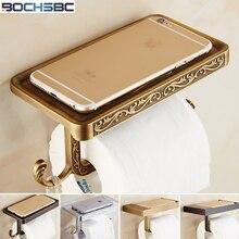 BOCHSBC-porte-papier en alliage de Zinc   Antique cuivre noir, Rose or argent en rouleau de papier, support Mobile pour porte-papier des toilettes européennes