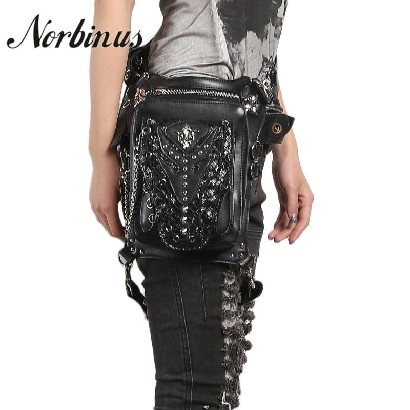 Norbinus Women Waist Bags Skull Rivet Shoulder Bags Retro Rock Fanny Packs Gothic PU Leather Messenger Holster Drop Hip Leg Bag