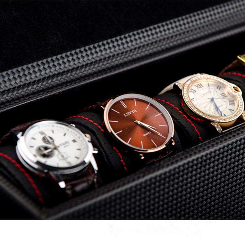 New 5 Slots Leather Watch Storage Box Case Black Carbon Fibre Watch Display Box Men's Mechanical Watch Gift Case W028