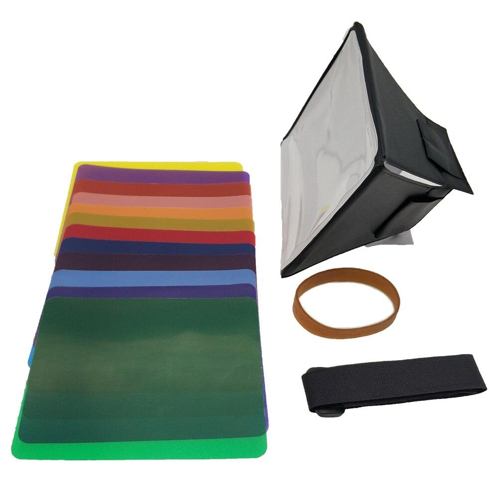 Fodling Faltbare Mini Softbox Blitz-diffusor Weichen box + 12pcs Farbe Balance Gel Filter Für Canon/Nikon/sony EOS Blitzgerät
