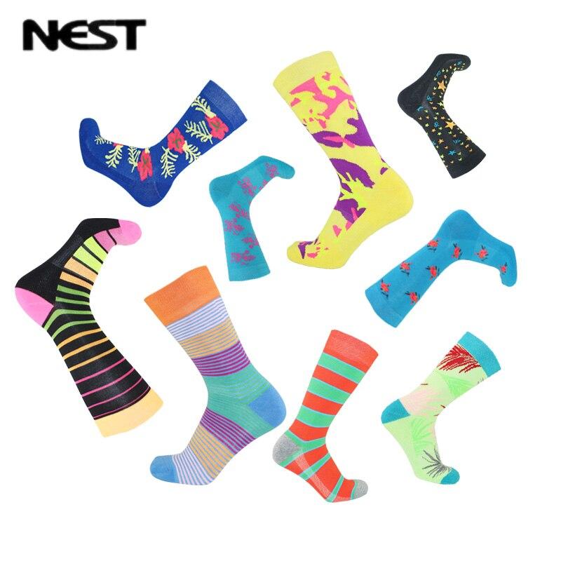 NEST 5 Pairs/Lot Man Busines Dress Sock Quality Work Wedding Terry Socks 5pcs Fashion Man Colorful Happys Socks