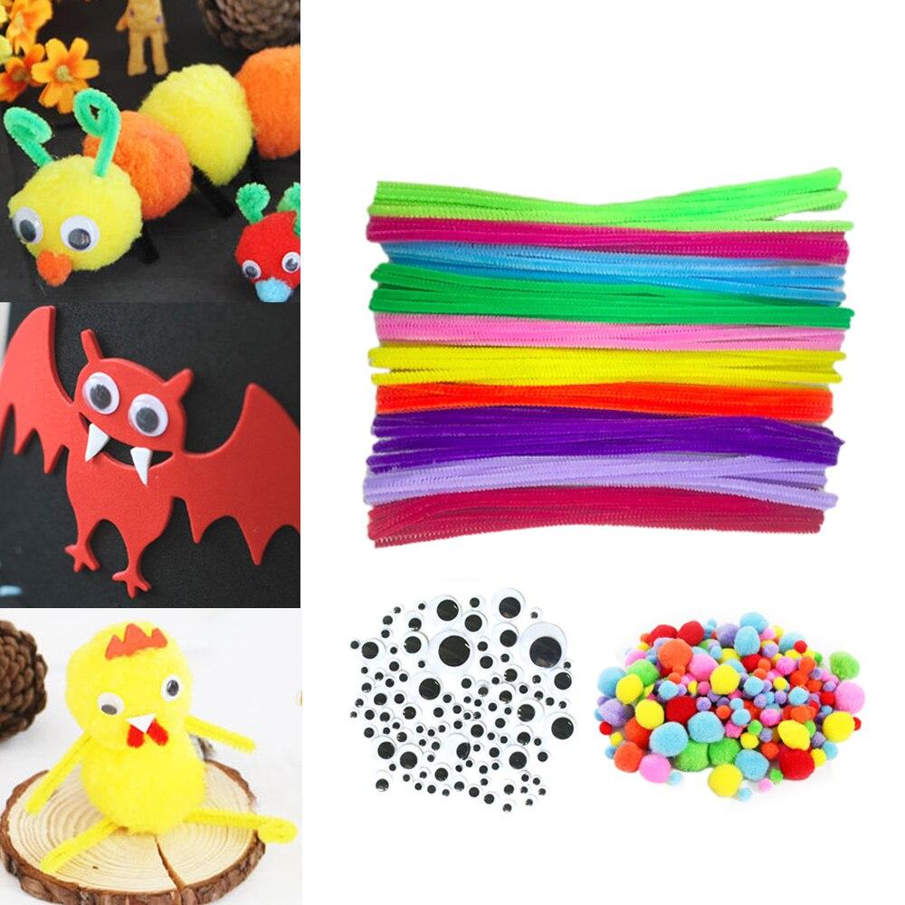 100 Uds 10 colores niños con puntas de chenilla para tubos 150 Uds 3 tamaños Wiggle Googly Eyes 250 Uds Pom Poms Montessori Diy arte artesanía juguete