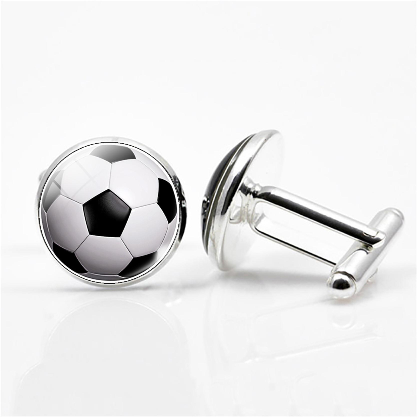 Joyería chapada en plata de alta calidad de 6 estilos con patrón de fútbol, gemelos novedosos, perno prisionero para hombres, regalo de boda