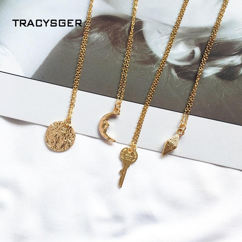 DQ-84538/TRACYSGER/2019 moda Irregular media luna en forma de llave colgante collar