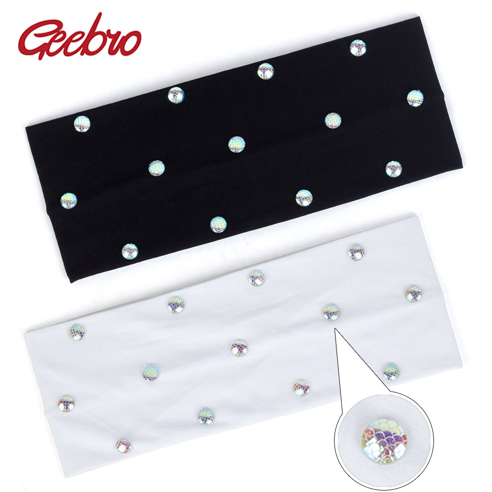 Diadema ancha Geebro para mujer, cinta para el pelo elástica plana de algodón, accesorios coloridos para envolver la cabeza con escala de peces, para mujer DZ785