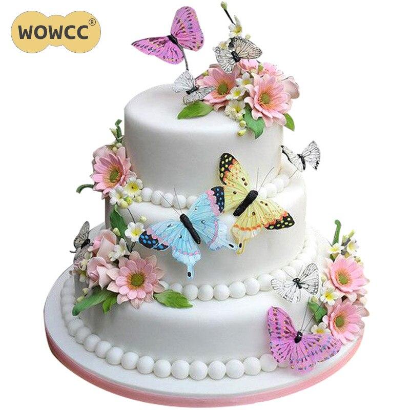 100 Uds variadas flores de mariposa comestibles papel de arroz oblea pastel Cupcake Toppers decoración pastel de boda cumpleaños herramienta