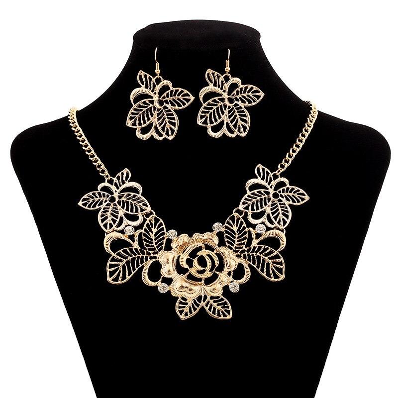 Lzhlq moda oco flor colar elegante colares na moda metal feminino camisola corrente acessórios